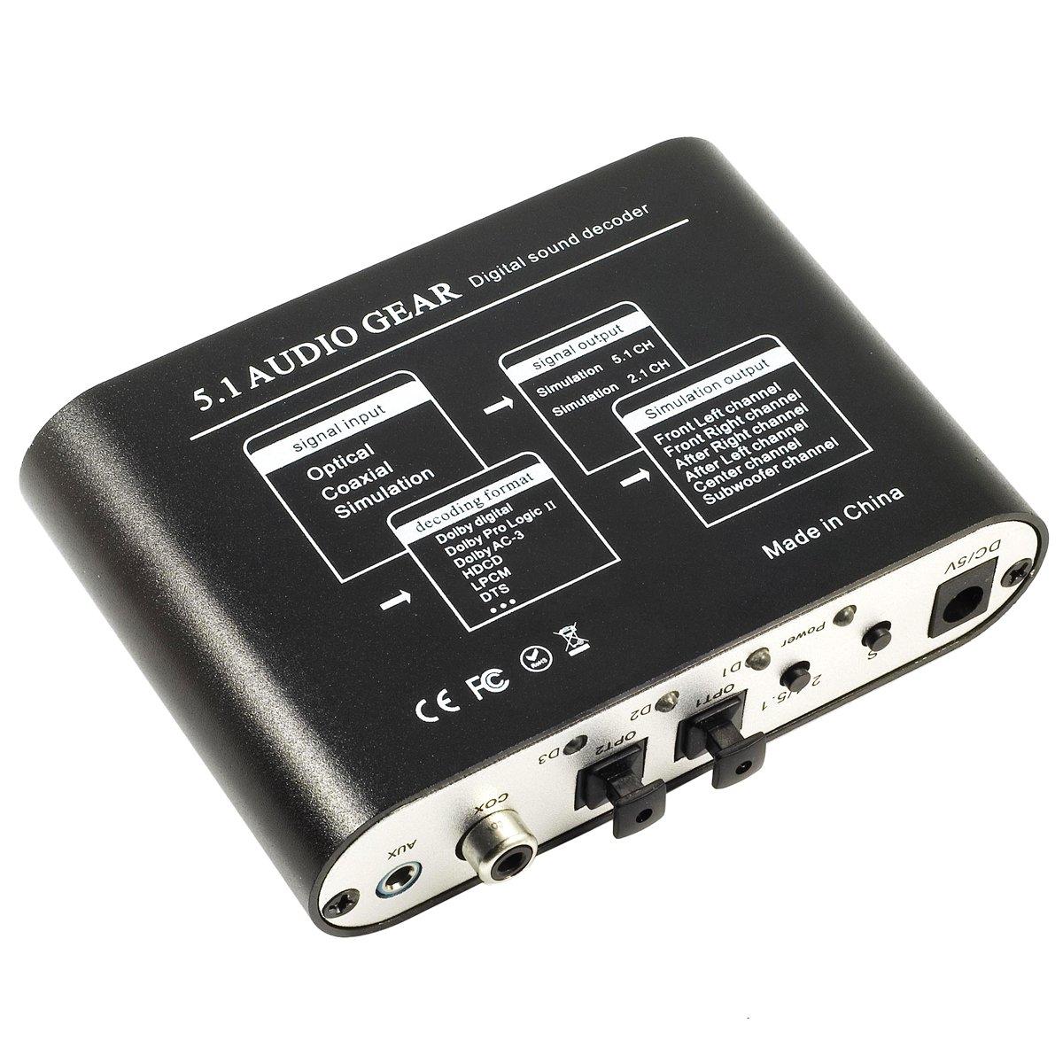 Decodificador de Sonido Digital Dolby DTS AC3 Optico a 5.1 Analógico Audio Gear SPDIF AC112: Amazon.es: Informática