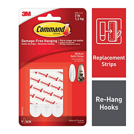 Command Medium Refill Strip (White, Pack of 9) Power Tool Accessories at amazon