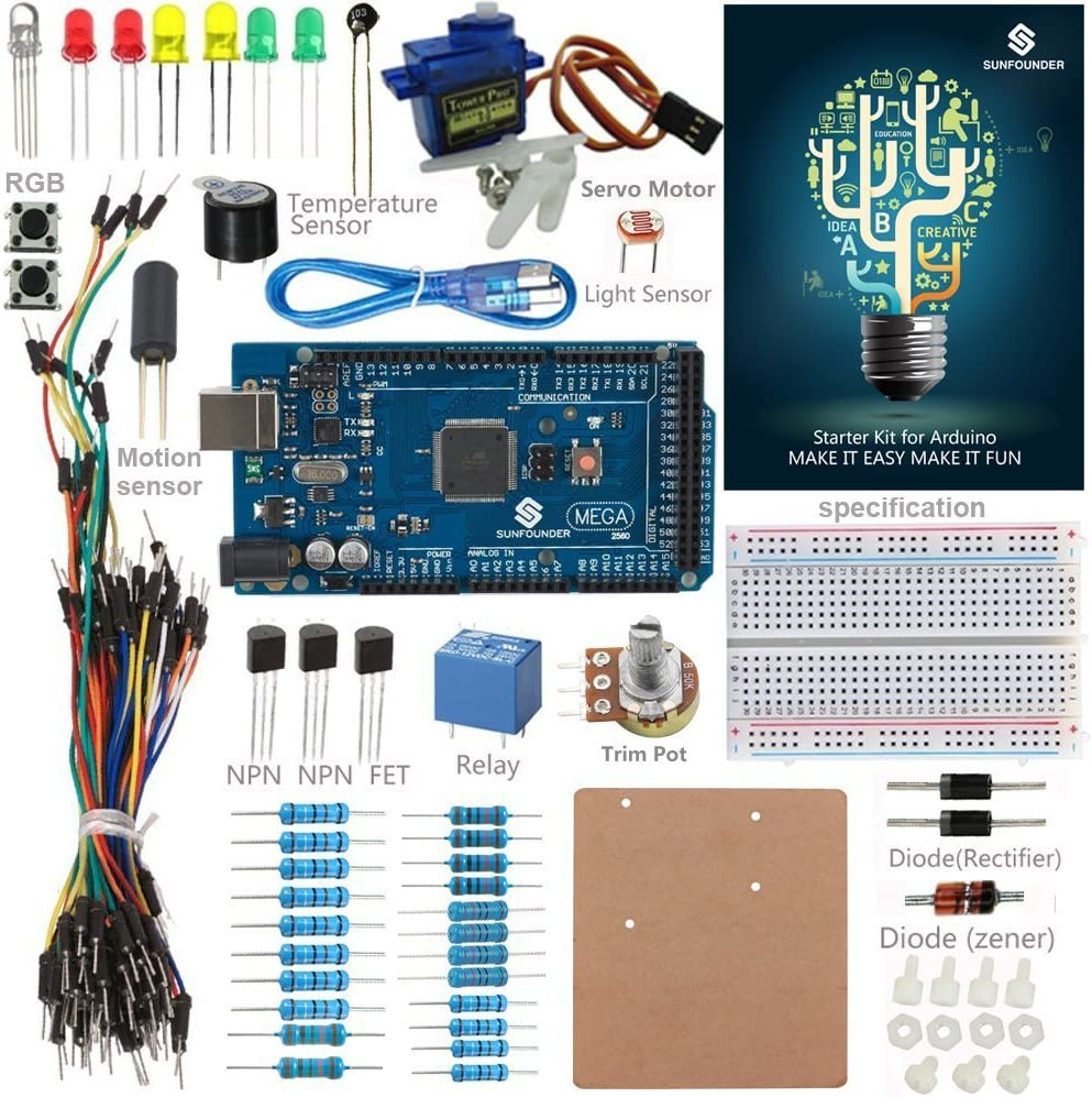 Mega2560 Board and 40 Tutorials Included SunFounder Mega2560 R3 Project The Most Complete Starter Kit Compatible with Arduino Mega 2560 R3 Mega328 Nano