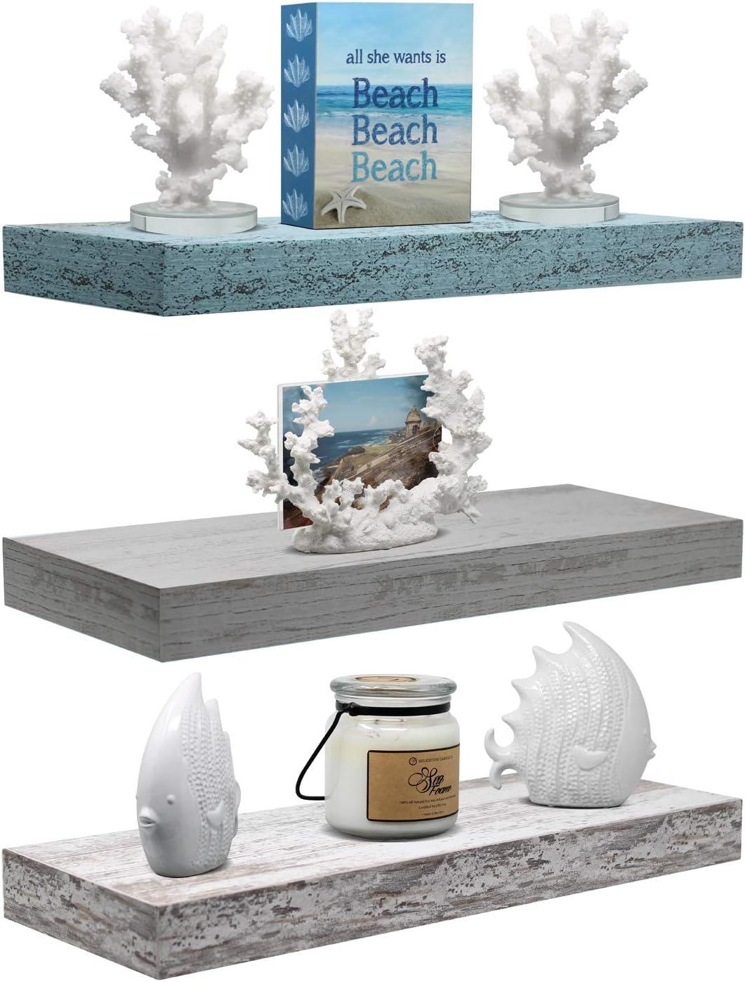 Sorbus Floating Shelf Set — Rustic Wood Coastal Beach Style Hanging Rectangle Wall Shelves for Home Décor, Trophy Display, Photo Frames, etc (3-Pack, Rectangle Shelf Set -Green White Grey)