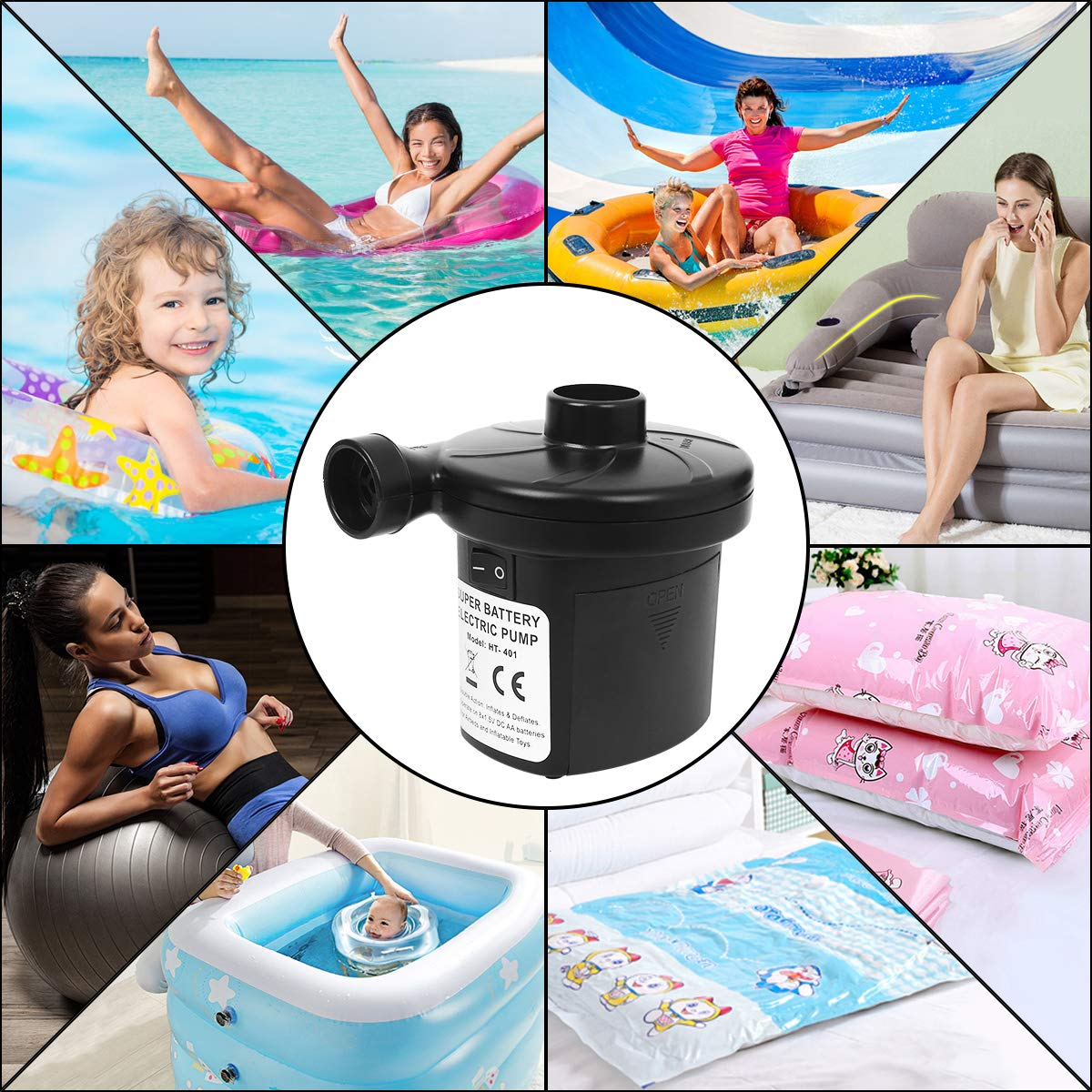 Electric Quick-Fill Blower Portable Inflator Deflator for Inflatables Raft Bed Boat Pool Toy sanipoe Battery Powered Air Mattress Pump Black