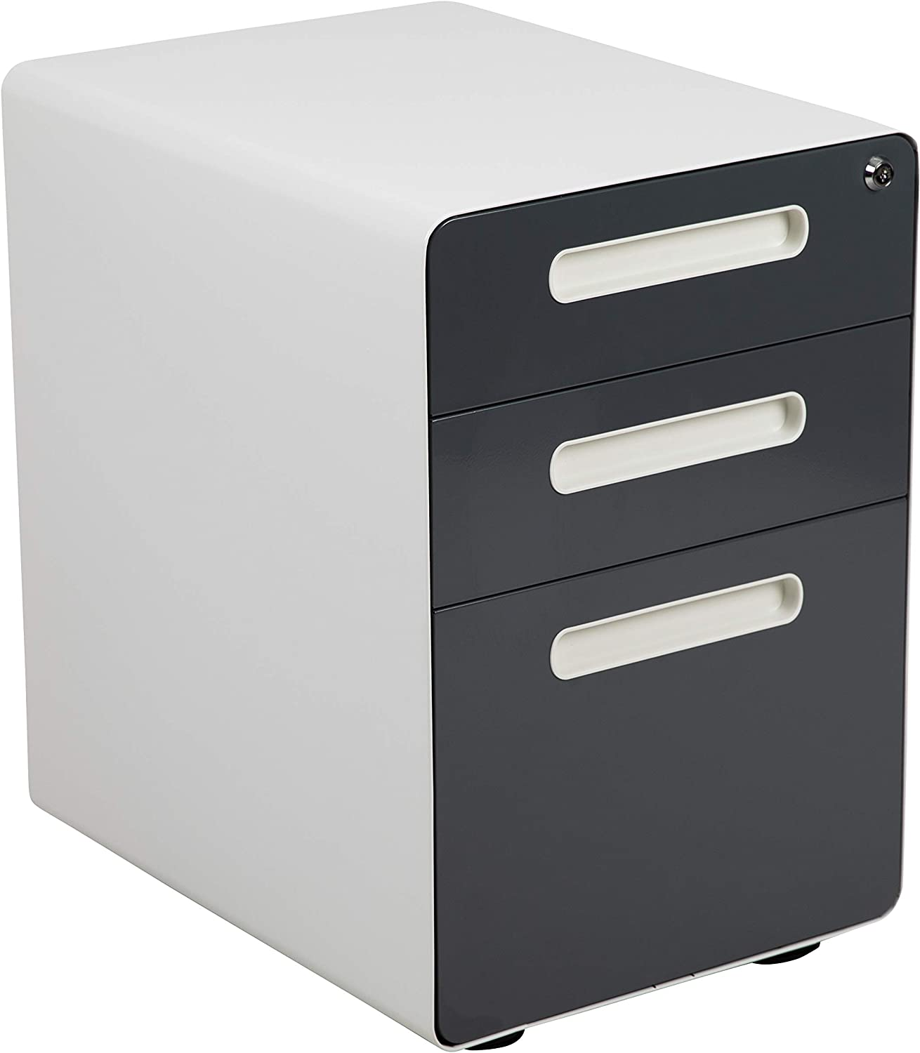 Flash Furniture Ergonomic 3-Drawer Mobile Locking Filing Cabinet with Anti-Tilt Mechanism & Letter/Legal Drawer, White with Charcoal Faceplate