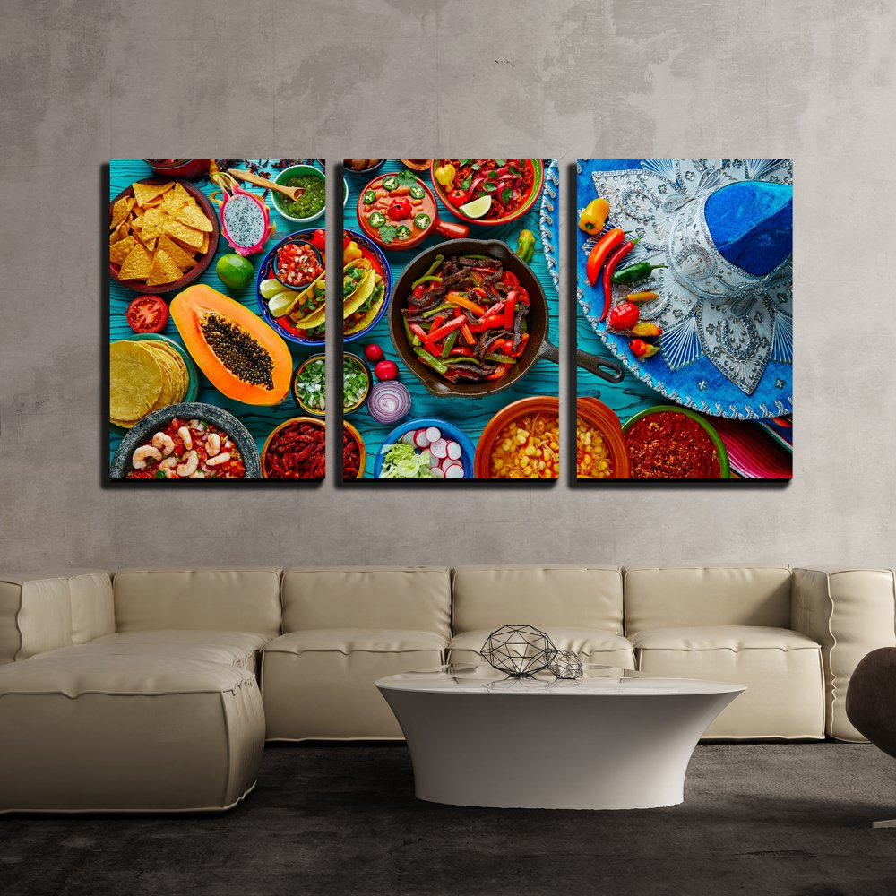 "wall26 - Mexican Food Mix Background - Canvas Art Wall Decor - 16""x24""x3 Panels"