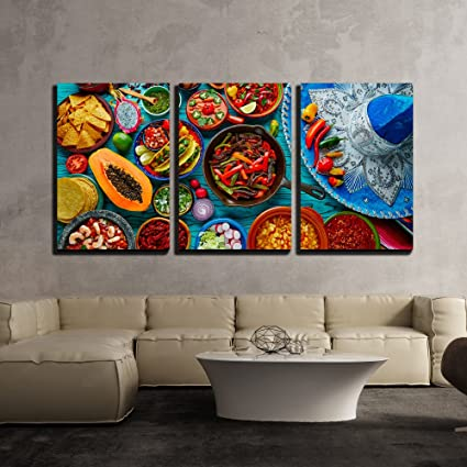 Elegant Wall26   3 Piece Canvas Wall Art   Mexican Food Mix Colorful Background  Mexico And Sombrero