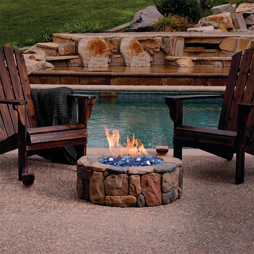 GASPRO 20-Pound Fire Glass – 1/2 Inch Reflective Tempered Fireglass with Fireplace Glass and Fire Pit Glass, Cobalt Blue Reflective