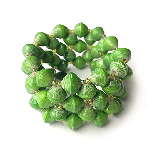 Paper Bead Stretch Imara Cuff Bracelet - Green - Fair Trade BeadforLife Jewelry from Africa