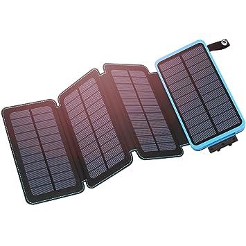 Hiluckey Cargador Solar 25000mAh Portátil Power Bank con USB Dual Impermeabl Batería Externa con 4 Paneles Solares Linterna LED Compatible con iPhone, ...
