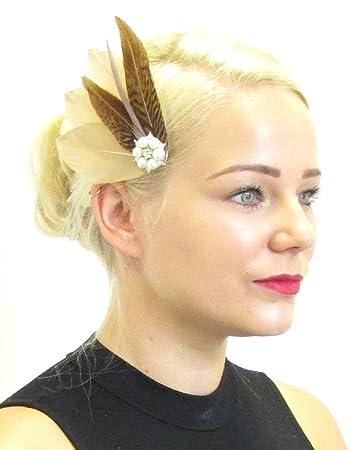 Caramel Braun Fasan Feder Fascinator Haar Clip Vintage Brautschmuck
