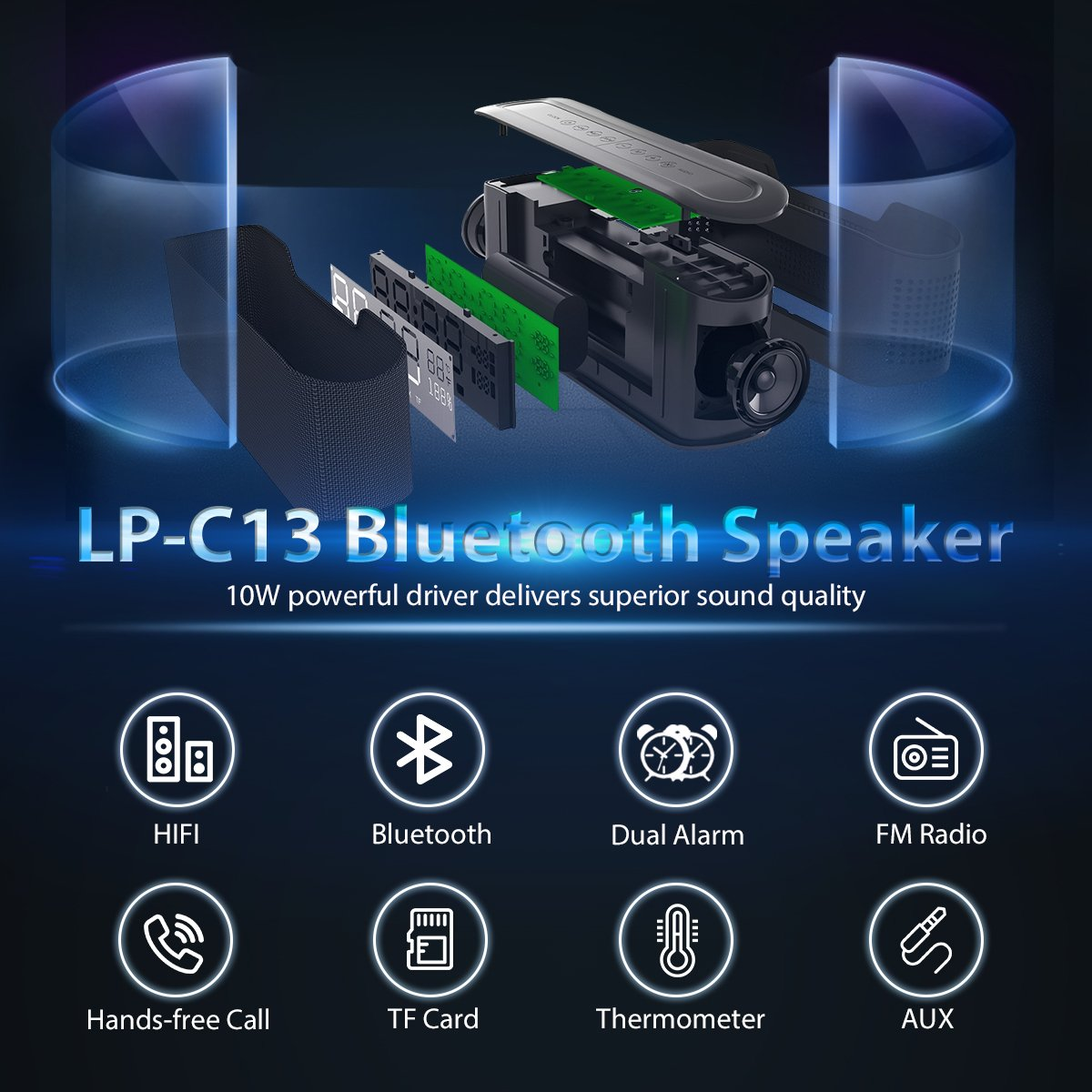 Portable Bluetooth Speaker Elegiant Nakamichi My Mini Plus With Fm Radio Pink Alarm Clock Hd Stereo Sound Enhanced Bass Micro Sd Card Slot