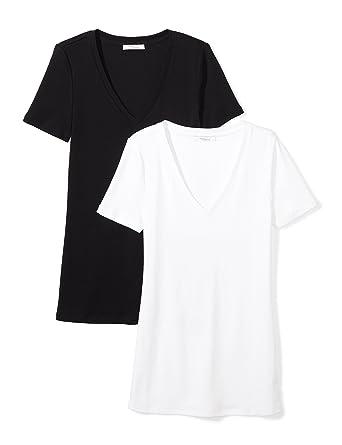 f3540e5eb16196 Daily Ritual Women s Midweight 100% Supima Cotton Rib Knit Short-Sleeve  V-Neck