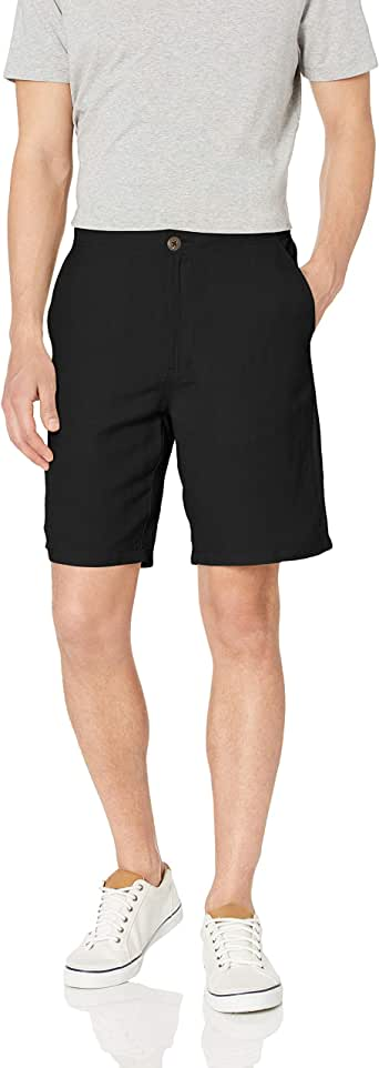 Amazon Essentials Men's Classic-Fit Flat-Front Linen Short - 9""