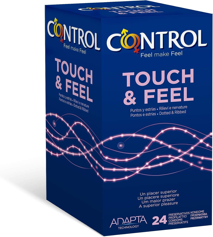 Control Touch & Feel Preservativos - Caja de Condones con Puntos y Estrías, 24 Unidades (Pack Ahorro)