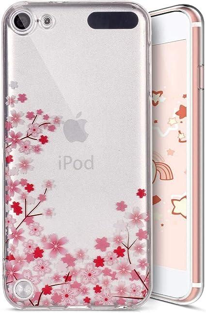 Ysimee Compatibile Cover iPod Touch 5//Touch 6,Custodie Gel Trasparente Chiaro Puro TPU Silicone Shell Protettivo Morbida Ultra Sottile Gomma Cover-Fiori di ciliegio
