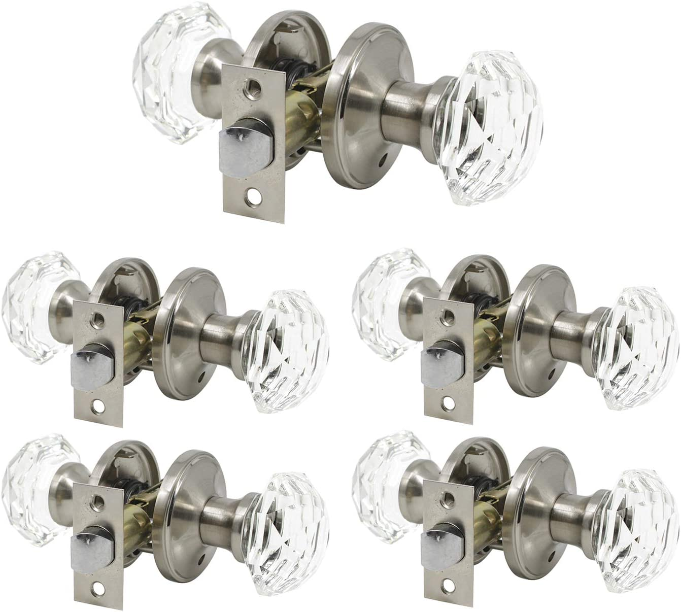 Fluted Glass Door Knobs Classic Bronze Finished Bases Home Decor Indoor Lock New