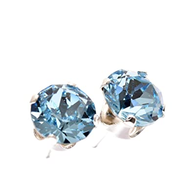 detailed pictures enjoy best price unique style 925 Sterling Silver Stud Earrings set with Aqua blue Swarovski Crystal  Stones. Gift Box. Made in England. Beautiful jewellery for very special  people.