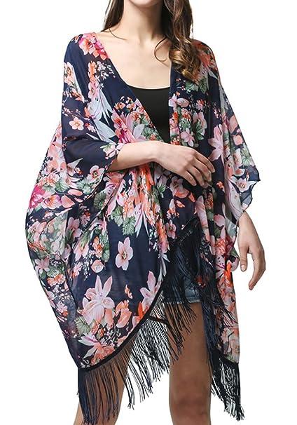 fae45ae398 MissShorthair Women's Light Floral Print Chiffon Kimono Cardigan Coverup  Blouse Tops at Amazon Women's Clothing store: