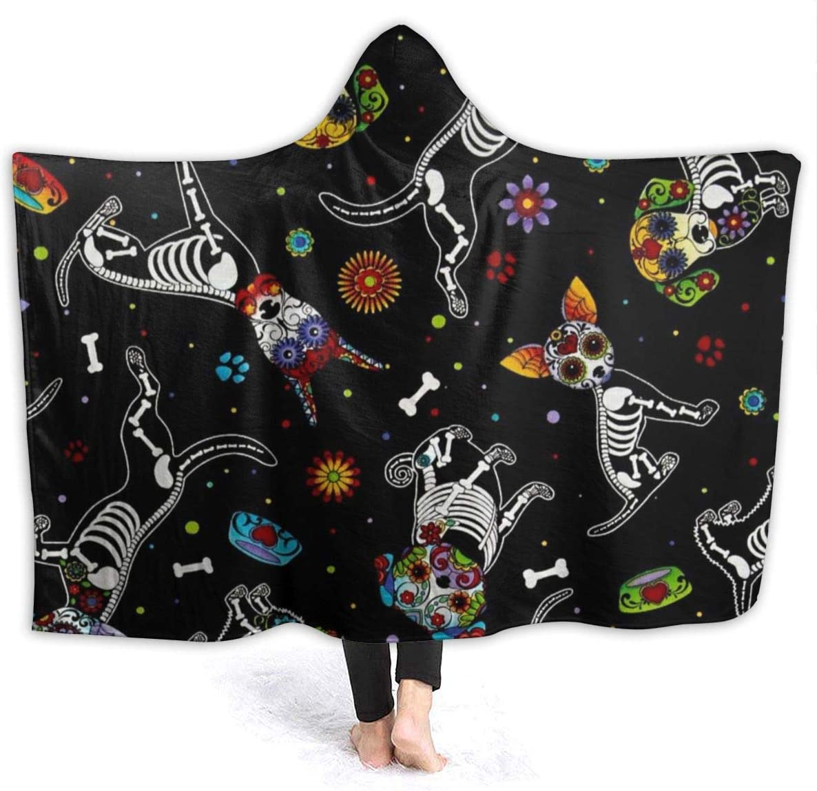 NiYoung Soft Cozy Hooded Throw Wrap for Sofa Couch Winter//Autumn T Rex Dinosaurs Blanket King Size Wearable Throw Keep Warm Sherpa Plus Velvet Camping Blanket