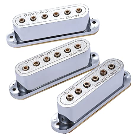 ammoon 3pcs 48/50/52mm Passive Magnetic Dual-Coil Sound Hole Pickup for  Fender ST Style Electric Guitar