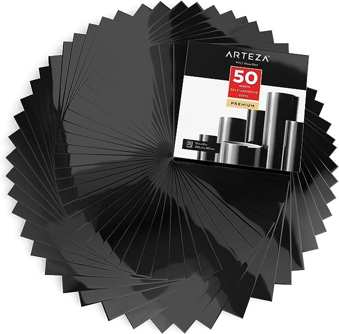 Arteza Láminas de vinilo adhesivo | Color negro brillante | 50 hojas de pvc de 30,5 x 30,5cm | Vinilos impermeables para interiores y exteriores | Compatibles con otras máquinas de corte: Amazon.es: Hogar