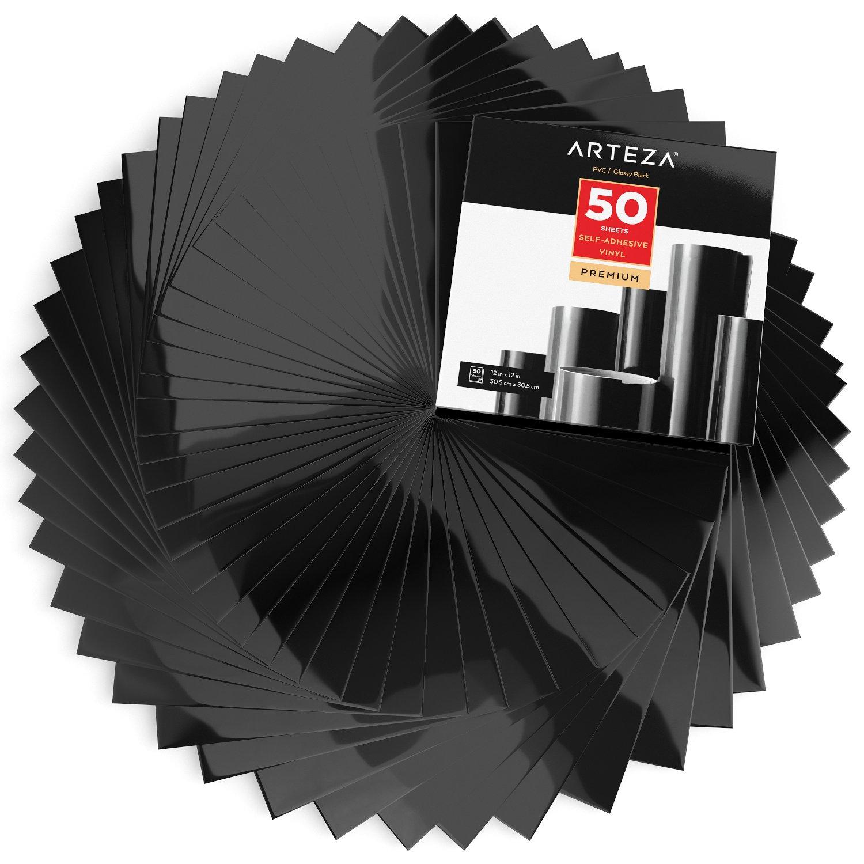 Arteza W/ärme/übertragung Vinyl-Papier 25.4cm x 30.4cm 14 Vinylbl/ätter 10 x 12 Zoll Selbstklebende Folie f/ür Hitzedruck-Transfer von B/ügelbildern | Flexible Vinylfolien in Schwarz