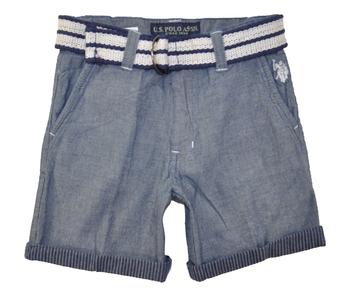U.S. Polo Assn.. Little Boys' Belted Chambray Short, 4T