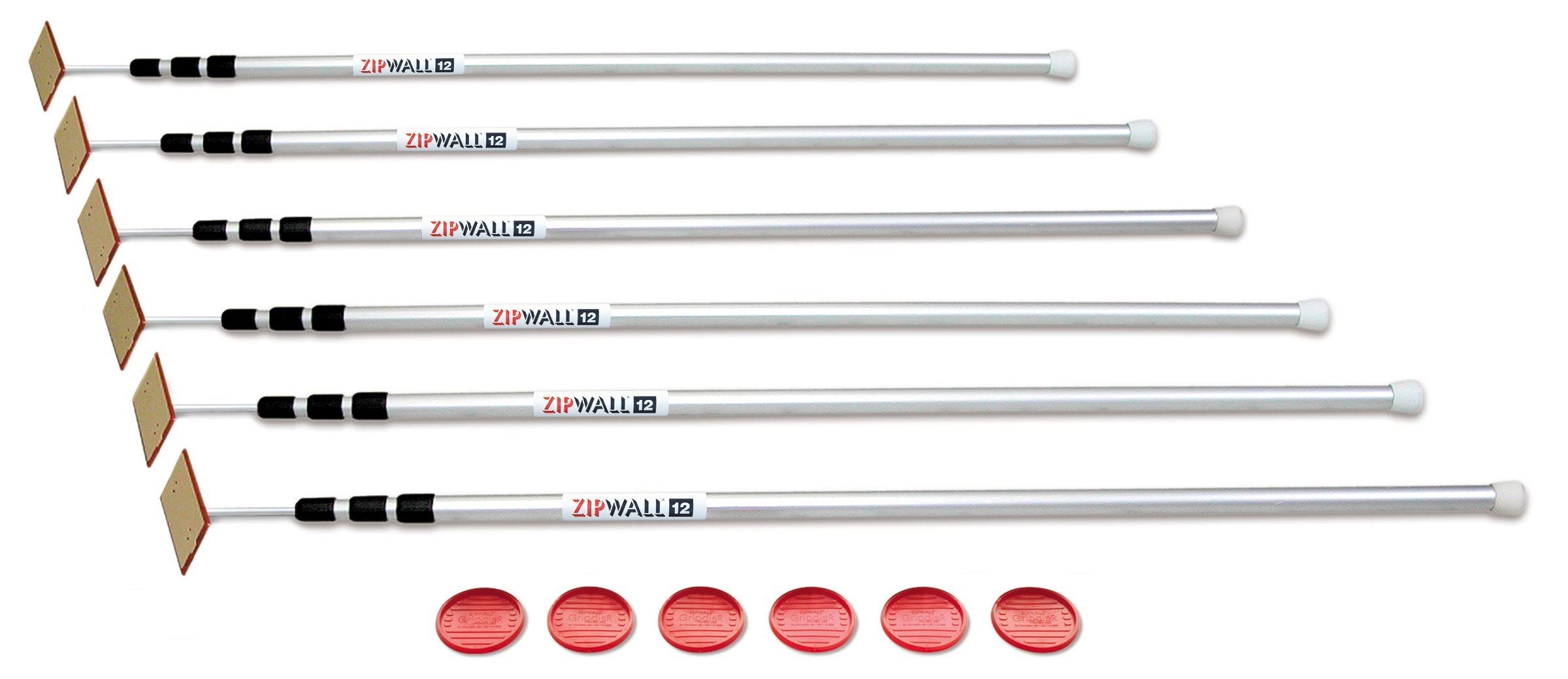 ZipWall SLP6 ZipPole 12-Foot Spring-Loaded Poles for Dust Barriers, 6-Pack by ZipWall (Image #1)