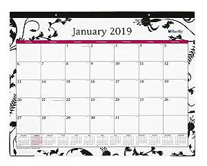 "Blue Sky 2019 Monthly Desk Pad Calendar, Ruled Blocks, 22"" x 17"", Analeis"