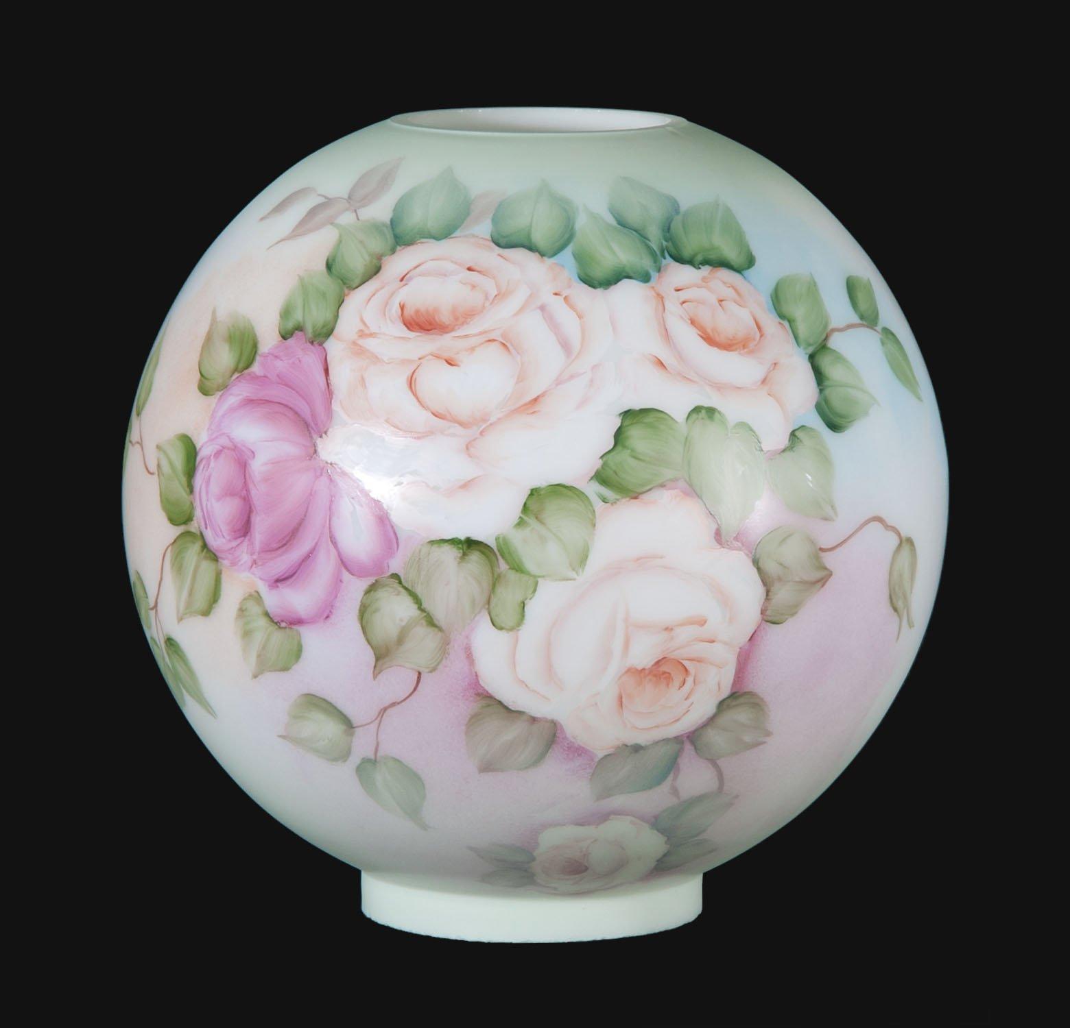 B&P Lamp 10'' Hand Painted Opal Glass Ball Lamp Shade, Friendship Roses Scene