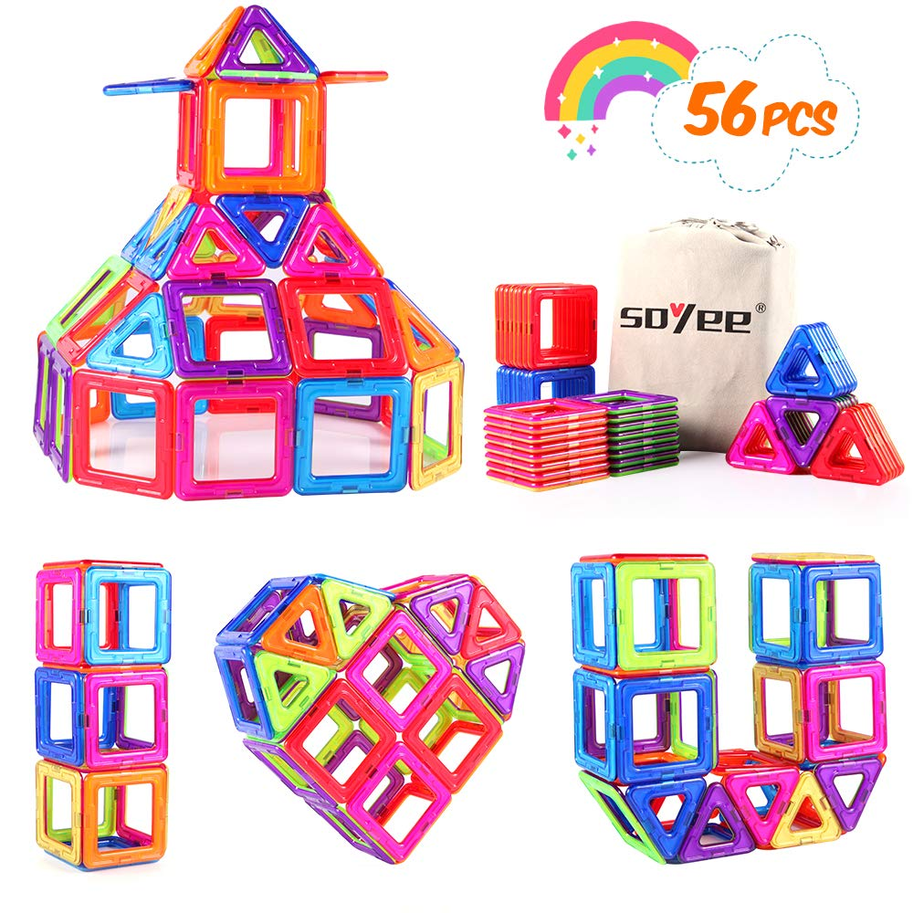 Gooidea Magnetic Blocks STEM Educational Toys for 3+ Year Old Boys and Girls Creative Construction Fun Magnetic Tiles Kit for Toddlers - 56pcs Advanced Set
