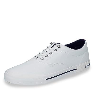 b8e9952db Tommy Hilfiger Men s Heritage Textile Canvas Sneaker Lace Up White-White-8