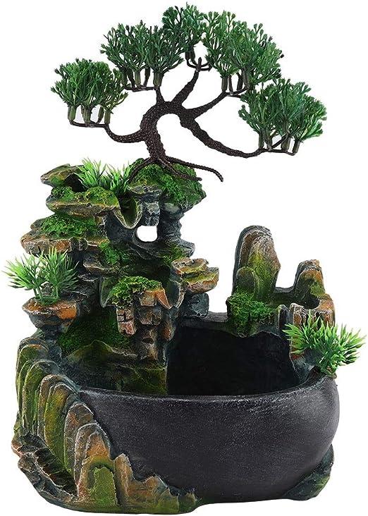 Inicio Decoración de Escritorio Humidificador - Regalos de Las Plantas Verdes Mini Cascada Fuente de Meditación Zen Cascada Pequeña Rocalla Rueda de Viento for la Decoración Casera: Amazon.es: Jardín