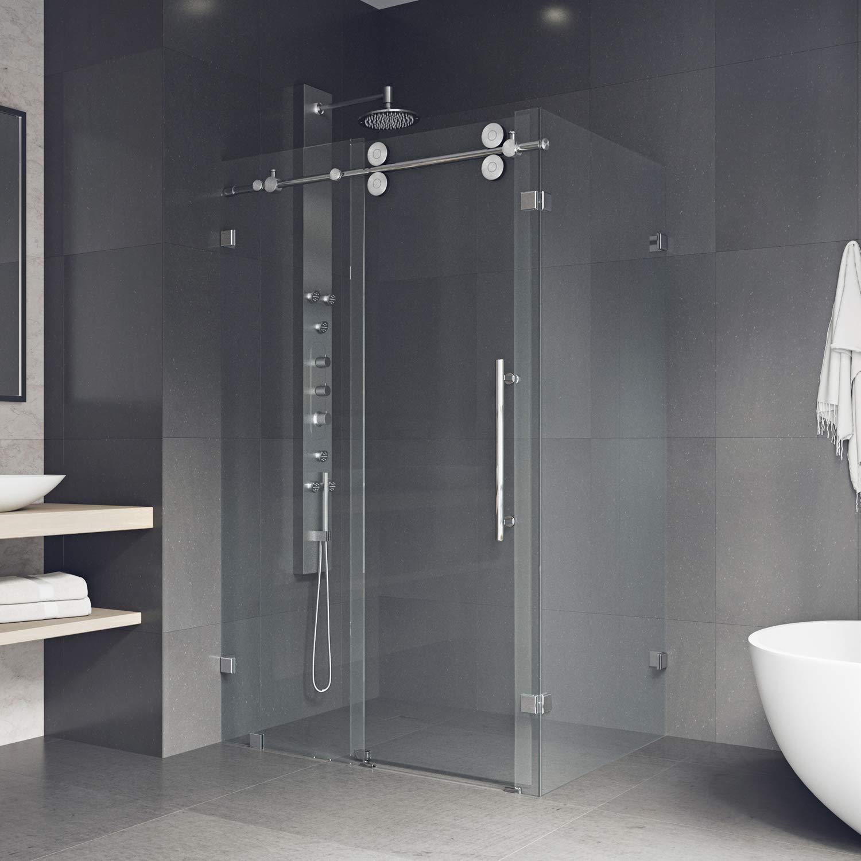 VIGO Winslow 36 x 48-in. Frameless Sliding Shower Enclosure with ...