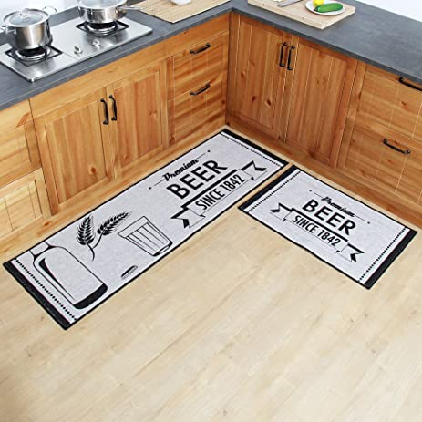 Amazon.com: Carvapet 2 Piece Kitchen Mat No Rubber Backing Doormat ...