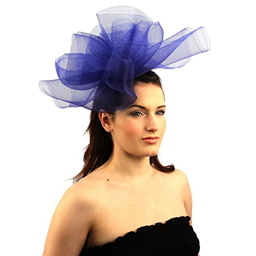 1f2cc0971c8 Fancy Kentucky Derby Tulle Headband Comb Fascinator millinery Cocktail Hat  Blue at Amazon Women s Clothing store