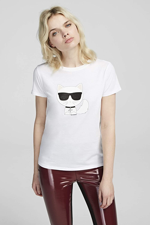 Karl Lagerfeld T-Shirt Black with Kitten Bianco