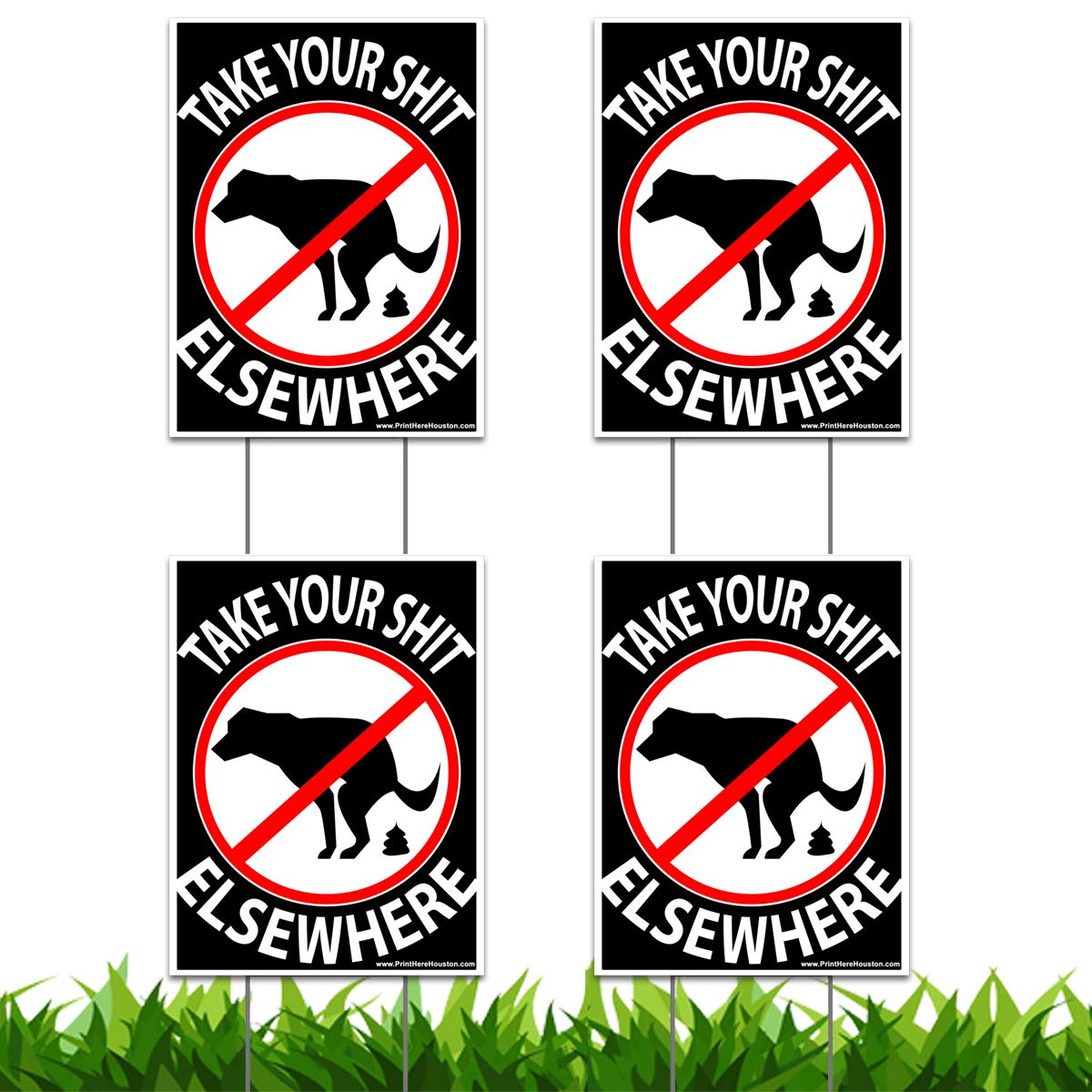 Vibe Ink 9'' x 12'' No Dog Pooping Yard Sign - Take Your Shit Elsewhere - Funny Double Sided Print Lawn Sign Include Metal Wire H-Stakes Stands (4)
