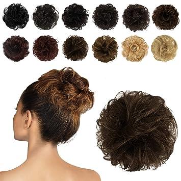 Feshfen 100 Human Hair Scrunchies 8 Light Red Brown Curly Messy Hair Bun Extensions