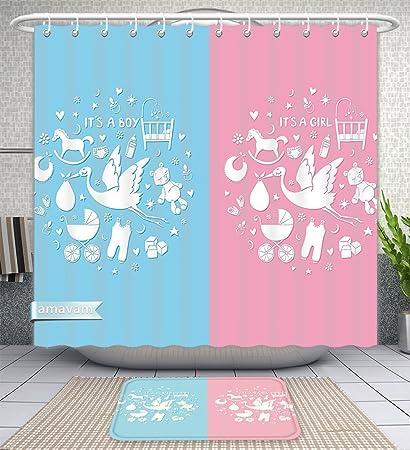 Unique Custom Bathroom 2 Piece Set Gender Reveal Decorations Cute Icons Girls Boys Baby Shower