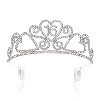 Amazon SWEETV Rhinestone Tiara Birthday Crown Princess Party Hat Hair Accessories 15 16 18 21 30 40 50 60 70th Gift 16th Beauty
