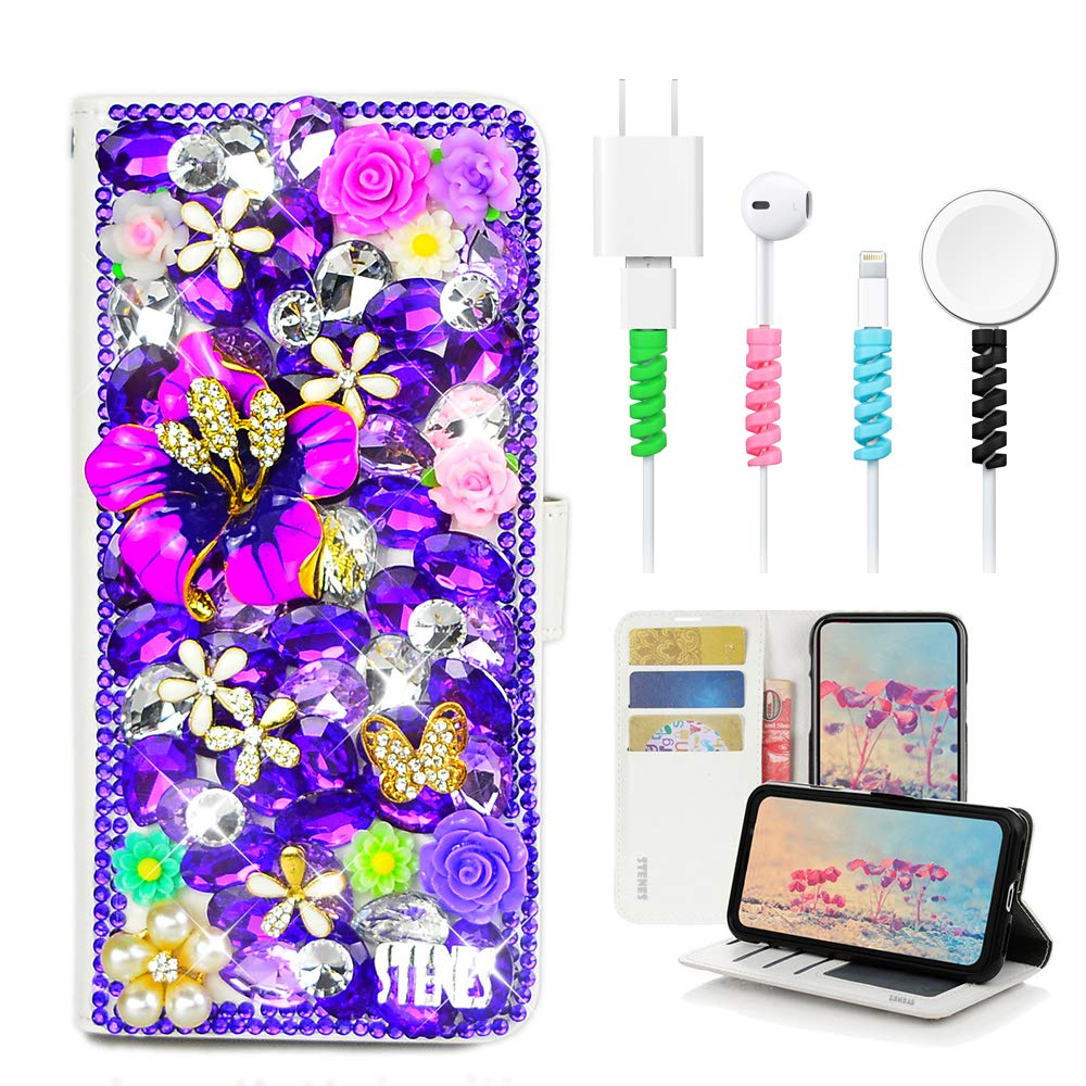 3D Handmade Redbud Butterfly Flowers Floral Leather Cover with Cable Protector - Purple STENES Bling Wallet Phone Case Compatible with Samsung Galaxy Note 10 Plus 4 Pack Stylish