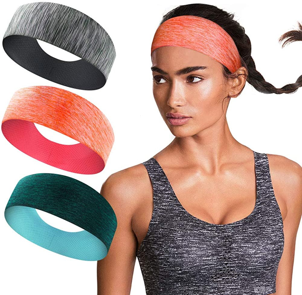 3 Pack Workout Headbands for Women - Sweat Wicking Hair Bands for Sports Fitness Yoga Running Elastic Non Slip
