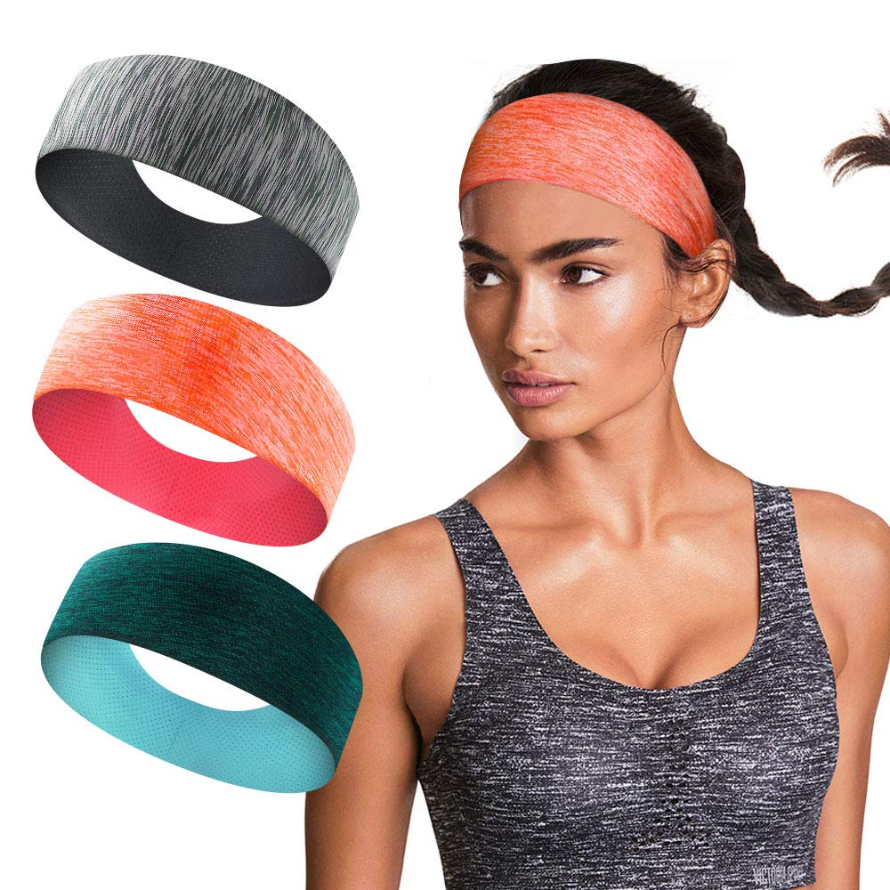 isnowood Sport Workout Athletic Yoga Moisture Wicking Headband Sweatband Trendy Stylish Headscarf fits All Men & Women (Color1) by isnowood