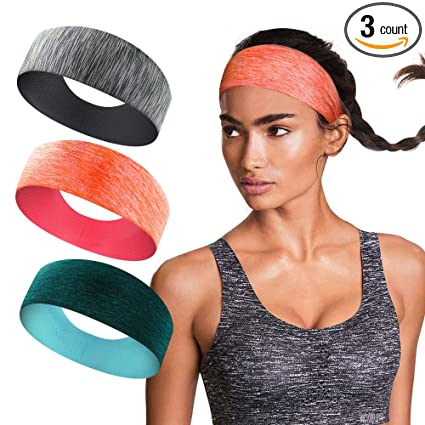c5e030c9c8d0 isnowood Sport Workout Athletic Yoga Moisture Wicking Headband Sweatband  Trendy Stylish Headscarf fits All Men