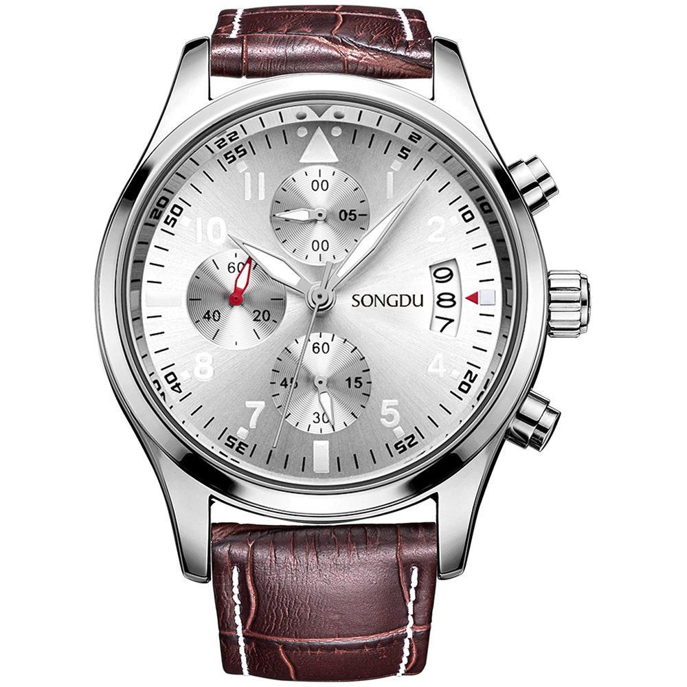 SONGDU Men Chronograph Quartz Watches Arabic Numbers with Date Analog Display and Stainless Steel Case Leather Strap (Brown)