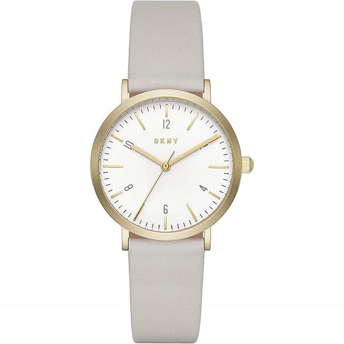 DKNY Reloj analógico para mujer de cuarzo con correa en cuero