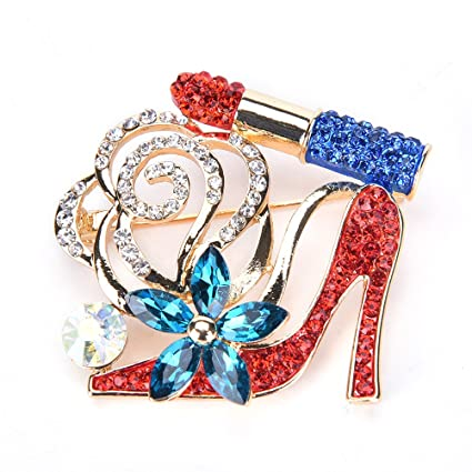 957db4acf38 Amazon.com: Lip Stick and High Heel Brooch for Women's Fashion Crystal Brooch  Pin: Arts, Crafts & Sewing
