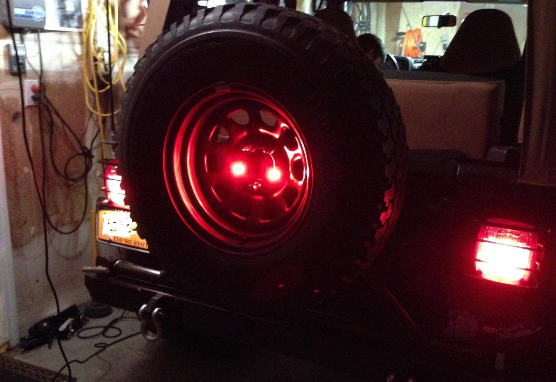 iJDMTOY Pair Rear Mount Spare Tire Lug Nut Insert Red 3rd LED Brake Light Kit Compatible With Jeep Wrangler TJ JK JL