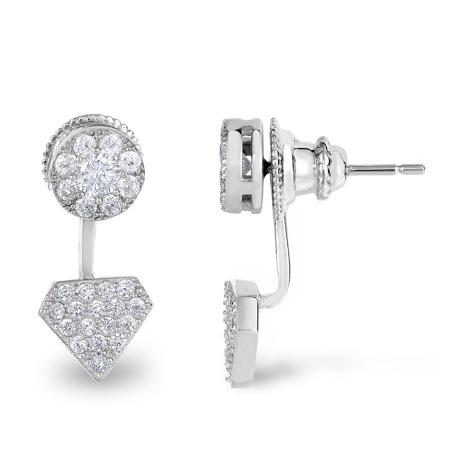 Rhodium-Plated Sterling Silver Cubic Zirconia Halo and Diamond-Shape Design Front Back Stud Earrings
