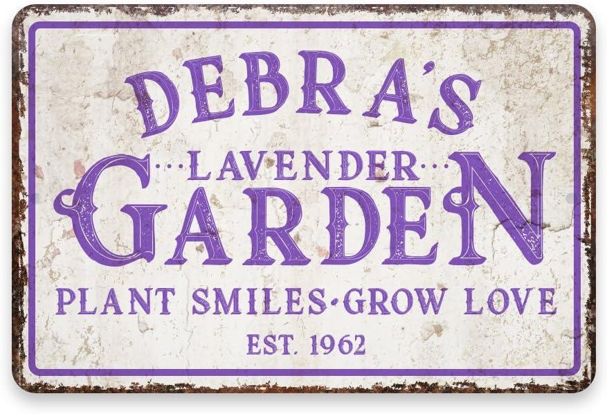 Pattern Pop Personalized Vintage Distressed Look Lavender Garden Metal Room Sign