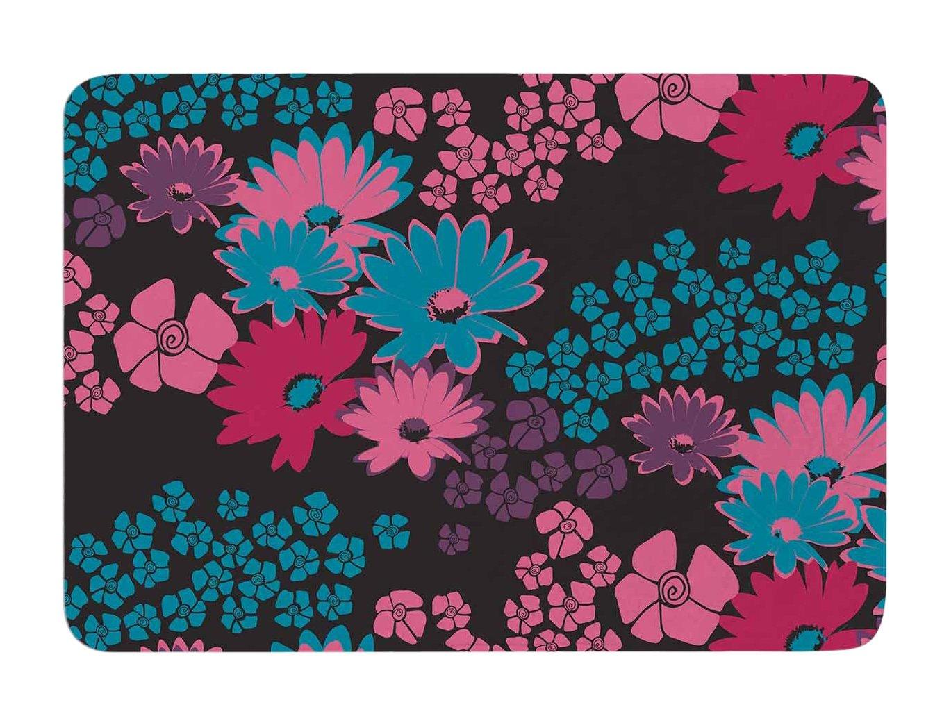 Kess InHouse Zara Martina Mansen Berry Color Bouquet Teal Pink Memory Foam Bath Mat 24 by 36-Inch 24 X 36